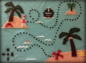 The pirate treasure map I used to make my first baby picture eBook
