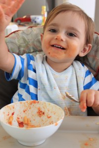 Proof that a dirty baby is a happy baby mean mommy mealtime long painful meal cleaning up