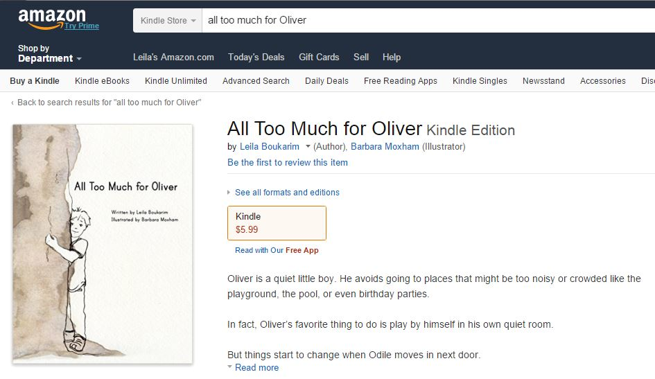 All Too Much for Oliver on Amazon- Picture book for highly sensitive children